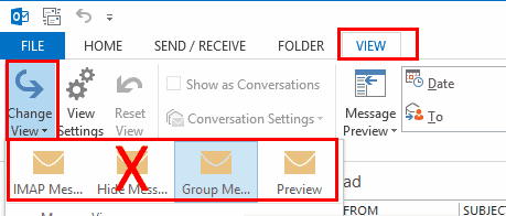"In Outlook, select ""View"" >"
